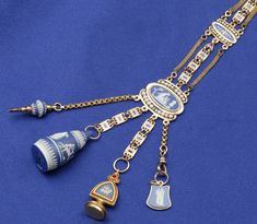 Antique Blue Jasperware and Enamel Chatalaine    ONE OF THESE IS ON MY LIST OF HAVE-TO-FIND!!!