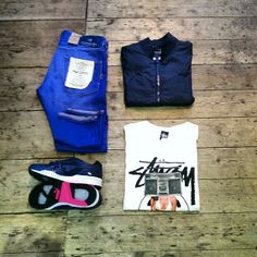 Spring time outfit ideas... SCHOTT BROS. NYC nylon baseball jacket, STUSSY boombox girl tee, electric blue Scotch and Soda jeans and finished limited edition PUMA trainers For more outfit ideas shop at JunQi - http://www.junqionline.com