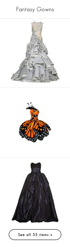 """""""Fantasy Gowns"""" by tacciani ❤ liked on Polyvore featuring dresses, gowns, long dresses, vestidos, short dresses, butterfly pattern dress, butterfly print dresses, white butterfly dress, short white dresses and short white evening dresses"""