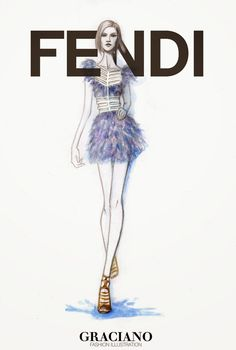 GRACIANO fashion illustration: FENDI SPRING 2015 #MFW