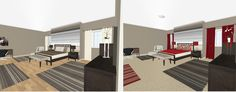 3D floor plans designed in RoomSketcher for contemporary bedroom.  Left - Neurtrals.  Right - Neutrals with reds.  Striped and solids; desk and comfy chair also in the room.  Candles and plant add warmth.  By Ahlam Zalghout.