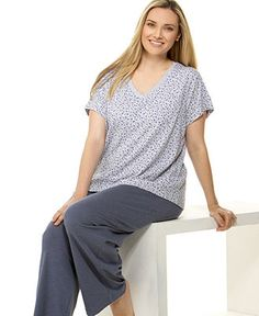 Plus Size Pajamas & Robes for Women - Macy's Plus Size Robes, Plus Size Sleepwear, Plus Size Pajamas, Sleep Pants, Pajamas Women, Women Lingerie, Plus Size Outfits, Tunic Tops, Tees