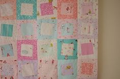 skip quilt - made from sherbet pips, little apples, sew stitchy and posy. Love the wonky squares!
