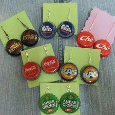 Earrings made by recycling bottle corks