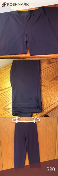 "Adidas Yoga Capris Pants Comfy all around yoga Capri pants. Great elastic waistband for extra fit and comfort. Measurements approximately as follows: waist 23""and inseam is 23"". EUC. Adidas Pants Capris"