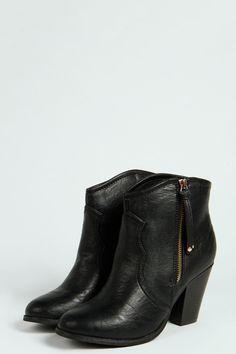 Nina Zip Side Block Heel Ankle Boot at boohoo.com