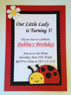 LadyBug Birthday Party Invitations Set of by ArtfulCreationsByDeb, via Etsy. Birthday Fun, First Birthday Parties, First Birthdays, Birthday Cards, Birthday Ideas, Ladybug Invitations, Birthday Party Invitations, Baby Bash, Ladybug Party