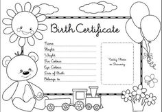 Teddy Bear Picnic - teddy bear birth certificate