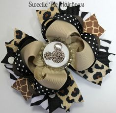 Minnie Mouse Safari Hairbow Zebra Deluxe Boutique Hair Bow Set So Cute for Disney Cheetah Giraffe Zebra. $9.99, via Etsy.