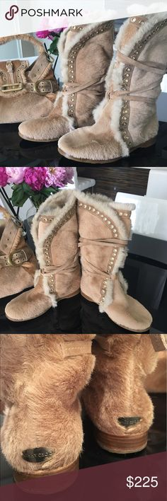 Authentic Jimmy Choo Fur Boots Tan Pony Hair boots with Fur Lining, Suede trim with gold tone with crisscross lace tie closures. NEW condition, barely used with minor wear on soles. I also have the matching handbag for sale. Check out my closet for a discount when you buy both! Jimmy Choo Shoes