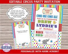 Circus Rainbow Blank Invitation Canival by EasyPartyPrintables