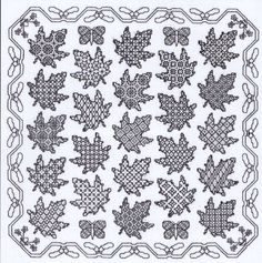Popular Embroidery Designs Maple Leaf Sampler Blackwork Kit - Blackwork is a reversible embroidery style that was popular for use on collars and cuffs during Elizabethan times. Blackwork Cross Stitch, Blackwork Embroidery, Learn Embroidery, Silk Ribbon Embroidery, Cross Stitching, Cross Stitch Embroidery, Embroidery Patterns, Cross Stitch Designs, Cross Stitch Patterns