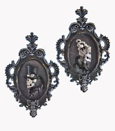 """Katherine's Collection Family Portrait Halloween Collection Set Two 14.5"""" Silhouette Frames Free Ship"""