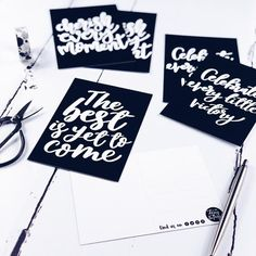 Set of 6 Inspirational Monochrome Postcards Postcard Packs Cherish Every Moment, In This Moment, The Best Is Yet To Come, Bring It On, Pop Collection, New Set, Brighten Your Day, Encouragement Quotes, Hand Lettering