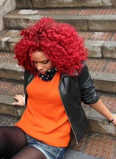candy apple red curls. #hair