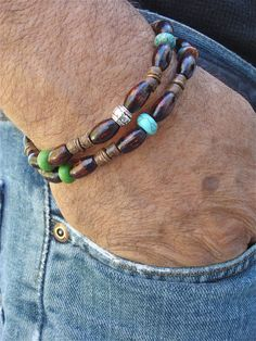 Men's Necklace Convertible Bracelet Double Strand by tocijewelry, $40.00