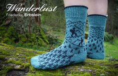 Wanderlust is a colorwork sock worked top down with a short row heel. The hiker motif is charted.