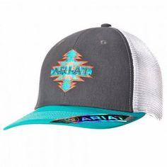 Ariat Women s Aztec Logo Mesh Snapback Cap - Gray Turquoise  womensoutfits  Fashion 101 d5f5b0e542b6