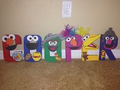 DIY Sesame Street inspired painted letters by PrettyPartiesndPaint Birthday Party Images, Second Birthday Ideas, Elmo Birthday, Boy First Birthday, Boy Birthday Parties, Sesame Street Cake, Sesame Street Birthday, Elmo Decorations, Sesame Street Centerpiece