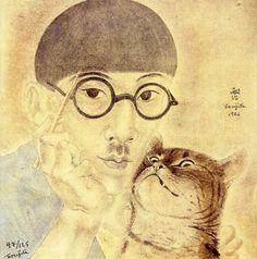 Foujita, watercolor, Self-portrait with Cat, 1926