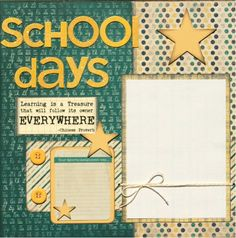 Premade Scrapbook Double Page 12 x 12 Layout - School Days
