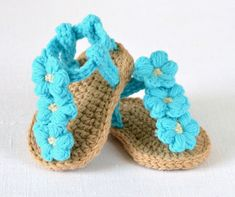 CROCHET Baby Sandals Pattern Easy Crochet Pattern for baby shoes with Little Puff Flowers - hand baby booties - Crochet Baby Sandals, Crochet Shoes, Booties Crochet, Crochet Dolls, Baby Shoes Pattern, Shoe Pattern, Easy Crochet Patterns, Baby Patterns, Knitting Patterns