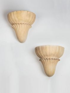 Of stylised seashell form, the delicately cast plaster with a gently aged surface patina and still retaining the original internal glass reflector shades