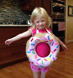 DIY Donut Costume. Followed the How to Make a Donut Pillow tutorial on Pinterest and sewed in neck and waist straps.