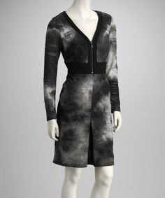 Take a look at this Gray & Black Tie-Dye Zip-Up Sheath Dress by Samuel Dong on #zulily today! $43 !!