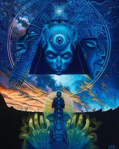 Visionary Art by Mear One Psychedelic Art, Fantasy Kunst, Fantasy Art, Pochette Cd, Arte Alien, Psy Art, Art Graphique, Visionary Art, Sacred Geometry