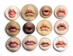 The Dozen Rosebuds 2005- various woods, gouach brooches, wall-mountable. By Julia Harrison
