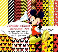 Mickey Mouse inspired digital paper, Mickey clipart, scrapbook, background, Digital Paper, Birthday Party Theme, Invitations. P&C use by DesignsCandy on Etsy