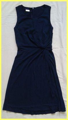 NWT $485 BLUE LES COPAINS NAVY JERSEY SIDE TWIST DRESS Sz IT 40, US 0 2 4 XS S #LesCopains #StretchBodycon