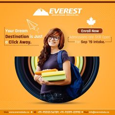 When you love studying in Canada, your Dream Destination is a click away! Enroll now with an ICCRC Member in India, the Everest Educational Services Inc., without delay. Get help for: Education Banner, Free Education, Education System, History Education, Social Media Poster, Social Media Banner, Social Media Design, Creative Poster Design, Creative Posters