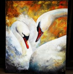 Swans love care oil painting on canvas gift wall decoration
