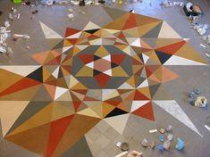 Elvira Wersche geometric floor piece -- this is made of sand!!