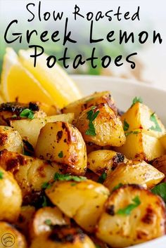 These Authentic Slow Roasted Greek Lemon Potatoes make the perfect side dish to so many meals! Serve them with roast chicken or beef as part of Sunday dinner, or add them to a baked fish or shrimp recipe. The potatoes are cooked in a mixture of broth, ext Potato Sides, Potato Side Dishes, Vegetable Dishes, Potato Meals, Fish Side Dishes, Cooked Vegetable Recipes, Potato Dinner, Greek Roasted Potatoes, Greek Lemon Potatoes