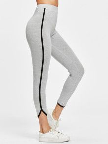738b877222ad6 Shop Contrast Binding Curved Hem Heather Knit Leggings online  Australia,SHEIN offers huge selection of Leggings more to fit your  fashionable needs.