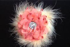 Peach Coral Organza Feather Flower Hair  Clip. by FancyGirlBoutiqueNYC