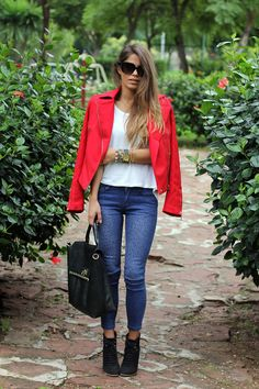 Seams for a desire: Red studded jacket