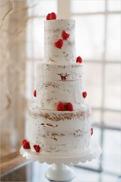A lot of people don't like the taste of fondant and so the big trend in wedding cakes are naked cakes. This one has just enough frosting to make it look like white birch tree bark. Naked Wedding Cake, Red Wedding, Wedding Cakes, Rustic Wedding, Chic Wedding, Birch Wedding, Wedding Blog, Wedding Colors, Wedding Decor