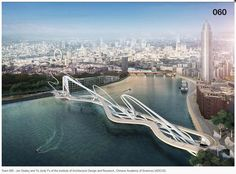 Rival designs unveiled for a new pedestrian and cycle bridge in London that would stretch over the Thames between Nine Elms and Pimlico Bridges Architecture, Architecture Design, London Architecture, Green Architecture, Rio Tamesis, Parque Linear, Bridge Design, Pedestrian Bridge, Pedestrian Crossing