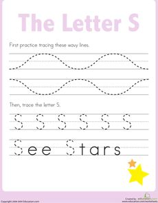 3's Practice Tracing the Letter S Worksheet