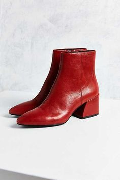 Shop Vagabond Olivia Leather Boot at Urban Outfitters today. We carry all the latest styles, colors and brands for you to choose from right here. Walk In My Shoes, Me Too Shoes, Sock Shoes, Shoe Boots, Boating Outfit, Red Boots, Leather Ankle Boots, Red Ankle Boots, Urban Outfitters