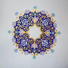 Tezhip Islamic Art Pattern, Arabic Pattern, Pattern Art, Pattern Design, Mandala Art, Mandala Drawing, Motif Oriental, Illumination Art, Persian Pattern
