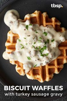 This Southern-style breakfast just got easy enough for a slowdown weekend morning. Whip up the gravy and pop some Pillsbury™ biscuits in the waffle iron, and you're good to chow. Turkey Breakfast Sausage, Turkey Sausage, Eat Breakfast, Breakfast Recipes, Waffle Iron Recipes, Waffle Toppings, Biscuits And Gravy, Sausage Gravy, Clean Eating Snacks