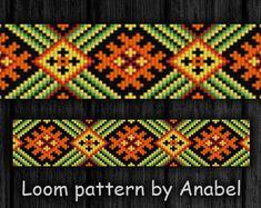 Bead loom pattern Square stitch pattern Loom bracelet pattern Beading pattern #139 Beaded cuff pattern Beadwork pattern Loom beading Ethnic