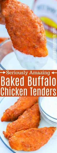 YES I love buffalo anything and this recipe hit the spot Buffalo Chicken Tenders chicken buffalochicken Chicken Strip Recipes, Buffalo Chicken Recipes, Turkey Recipes, Recipes For Chicken Tenders, Chicken Wraps, Recipes With Buffalo Sauce, Buffalo Chicken Bake, Easy Chicken Tender Recipes, Best Chicken Tenders