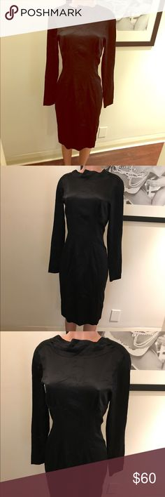 Slimming black midi MARCIANO🔹medium🔹solid black🔹shiny, silk like, crew neck with ruffle (see close up photo) smooth-slimming silhouette-long sleeved-beautifully cut midi, deep V back side... ah, the perfect little black dress! Chic & classy! You'll look and feel like an absolute KNOCKOUT💰💰👊🏼 EUC, worn once or Never 😻 Marciano Dresses Long Sleeve