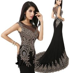 Buy Luxurious Prom/Evening Dress - Black Mermaid Scoop with Beading Evening Dresses 2016 under $196.99 only in Dressywomen.
